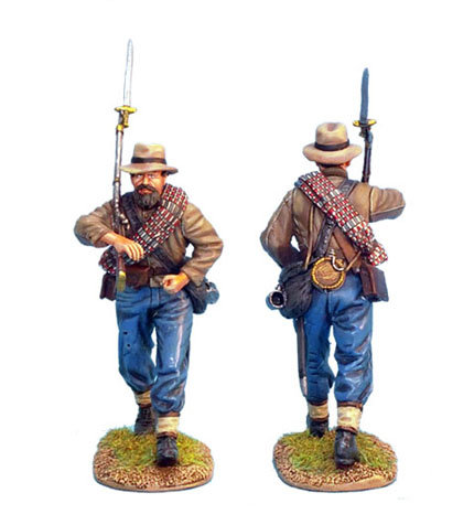 ACW019 CONFEDERATE INFANTRY ADVANCING - CHEQUERED BLANKET ROLL