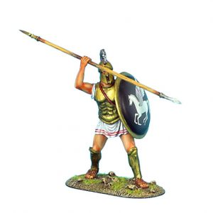 AG005 GREEK HOPLITE WITH BRASS ARMOUR AND PEGASUS SHIELD