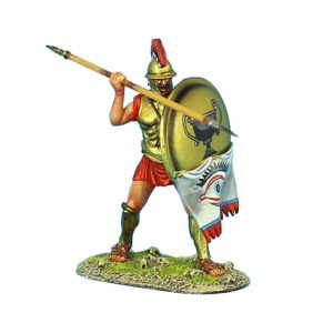 AG006 GREEK HOPLITE WITH THRACIAN HELMET AND BRASS ARMOUR