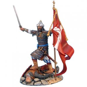 CRU026 MAMLUK LEADER WITH CAPTURED FLAG STANDING ON FALLEN CRUSADER