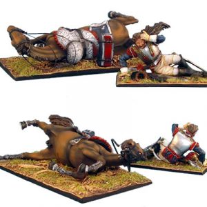NAP0249 FRENCH 5th CUIRASSIER DAZED TROOPER AND DOWNED HORSE