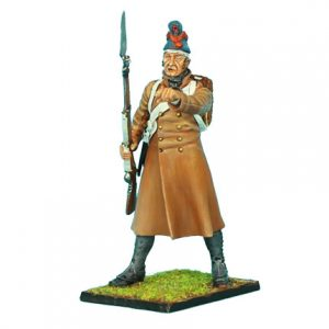 NAP0329 FRENCH 18th LINE INFANTRY FUSILIER STANDING IN GREATCOAT AND FORAGE CAP