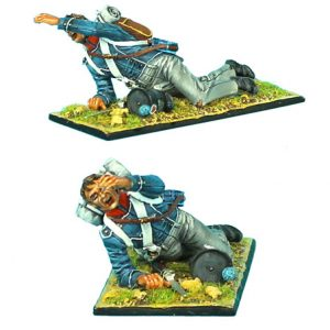 NAP0378 FRENCH 1ST LIGHT INFANTRY CHASSEUR LAYING WOUNDED