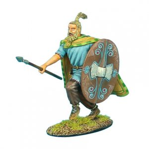 ROM029 GERMAN WARRIOR CHARGING WITH SPEAR AND QUILTED CAPE