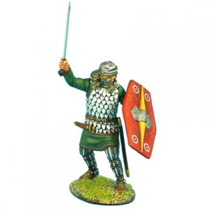 ROM039 NOBLE GERMAN WARRIOR WITH SWORD AND ROMAN HELMET