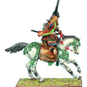 SAM026 MOUNTED SAMURAI COMMANDER CHARGING WITH GUNBAI - TAKEDA CLAN