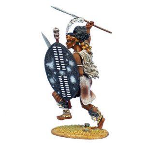 ZUL025 iNGOBAMAKHOSI ZULU WARRIOR CHARGING WITH SPEAR AND SHIELD