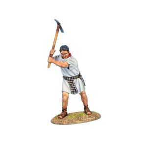 ROM167B Imperial Roman Legionary Swinging Pick - WHITE Tunic