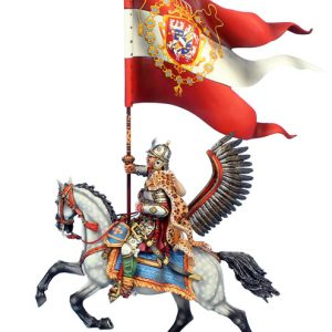 TYW005a POLISH WINGED HUSSAR WITH GRAND STANDARD OF SIGISMUND III