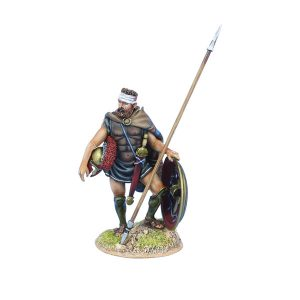 AG059 GREEK HOPLITE WITH BANDAGED HEAD AND DORY