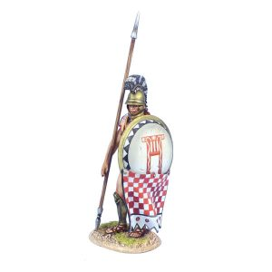 AG060 GREEK HOPLITE STANDING WITH DORY AND SHIELD CURTAIN