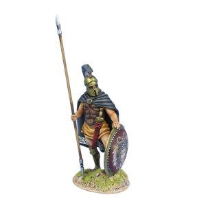 AG064 GREEK HOPLITE STANDING WITH CLOAK AND DORY