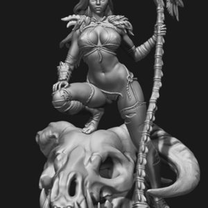 "FL7507 - 75mm Fantasy Femmes Fatales ""Girl and the Dragon Skull"""
