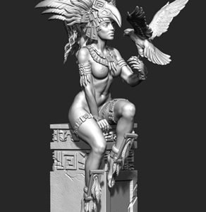 "FL7508 75mm Fantasy ""Aztec Priestess with Bird"" Resin Kit"