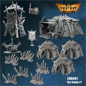28OC01 Orc Camp Set #1 (28mm Resin Unpainted and Unassembled)